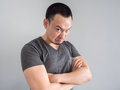 Angry face of asian man portrait. Royalty Free Stock Photo