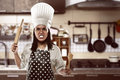 Angry asian woman chef Royalty Free Stock Photo