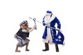 Angry Baba Yaga and Father Christmas Stock Photo