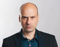 Angry bald dude expressive portrait Royalty Free Stock Photo