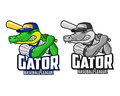 Angry Baseball Gator Cartoon Mascot Logo