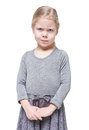 Angry beautiful little girl frown isolated over white background Royalty Free Stock Photography