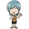 Angry blue hair female adult standing holding fist up air wearing orange shirt black short skirt high heeled shoes cartoon comic Stock Photography