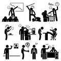 Angry boss abusing employee a set of human pictogram representing an his employees Stock Photo