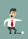 Angry boss or businessman yelling and pointing with spilled cup of coffee at feet flat design Royalty Free Stock Photo