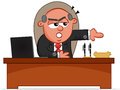 Angry boss man pointing door cartoon and the Royalty Free Stock Images