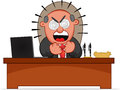 Angry Boss Sitting Behind His Desk Royalty Free Stock Photos