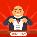 Angry boss tearing sheet white paper contract character symbol business icon background concept flat design template vector Stock Image