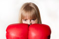 Angry boxer woman with boxing gloves Stock Images