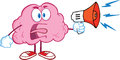 Angry brain character screaming into megaphone cartoon Royalty Free Stock Images