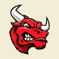 Angry bull head mascot