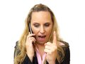 Angry business woman screaming in her cell phone an Stock Photos