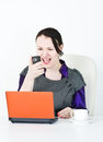 Angry business woman screaming with phone Stock Photography