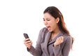 Angry business woman screaming, shouting at her smartphone Royalty Free Stock Photo