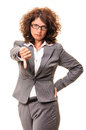 Angry business woman thumb down showing failure isolated on white background Royalty Free Stock Photography