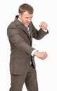 Angry businessman as succesful fighter Royalty Free Stock Photo