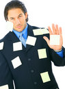 Angry Businessman With Many Post It Royalty Free Stock Image
