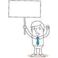 Angry businessman protesting with blank sign Stock Photo
