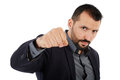 Angry businessman threatening with his fist closeup portrait of an isolated on white background Royalty Free Stock Photos