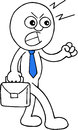 Angry businessman walking hand drawn cartoon of with blue tie on white background Stock Images