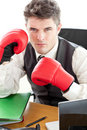 Angry businessman wearing boxing gloves Royalty Free Stock Image