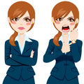 Angry businesswoman late concept arriving pointing finger to her wristwatch showing the time and yelling Royalty Free Stock Images