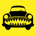 Angry car character color illustration Stock Photo