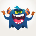 Angry cartoon black monster screaming. Yelling angry monster expression. Halloween vector illustration.