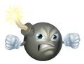 Angry cartoon bomb an illustration of an looking character Royalty Free Stock Image