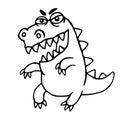 Angry cartoon dragon. Vector illustration.