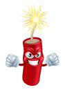 Angry cartoon firecracker an illustration of mean or looking or firework character with a lit fuse Royalty Free Stock Photos