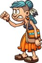 Angry cartoon hippie woman