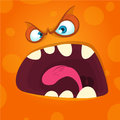 Angry cartoon monster face. Halloween mask avatar for print.