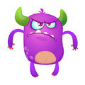 Angry cartoon monster. Violet horned monster alien with angry expression. Halloween  vector illustration. Royalty Free Stock Photo