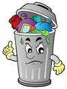 Angry cartoon trash can Royalty Free Stock Photo