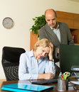 Angry chief and secretary in office Royalty Free Stock Photo