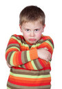 Angry child with crossed arm Royalty Free Stock Image