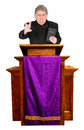 Angry christian priest minister pastor preacher giving worship sermon fire brimstone god morality religion hot topic man also Royalty Free Stock Photography