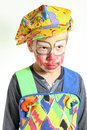 Angry clown portrait with red face and yellow cap Royalty Free Stock Photo