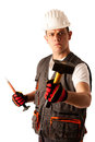 Angry construction worker threats with hamer isolated over white Stock Image