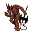 Angry demon cartoon vector isolated character Royalty Free Stock Images