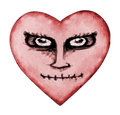 Angry Devil Heart Drawing Royalty Free Stock Photo