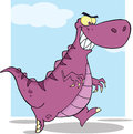 Angry dinosaur cartoon character running mascot Royalty Free Stock Photos