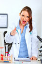 Angry doctor woman shouting and pointing on you Royalty Free Stock Photo