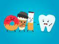 Angry donut, coffee paper cup and cigarette kill healthy tooth. Nightmare health white teeth. Vector flat cartoon character