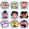 Angry doodle faces Stock Photos
