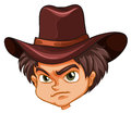 An angry face of a cowboy illustration on white background Stock Image