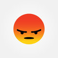 Angry face emoticon vector illustration