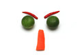 Angry face with vegetable isolated on white background Stock Images