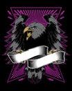 Angry falcon with ribbon vector illustartion Royalty Free Stock Photo